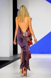 A view of Katrina Bowden's tartan dress from behind.