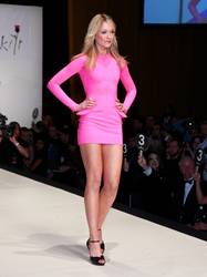 Katrina Bowden walked the runway in an extremely short bright pink dress.
