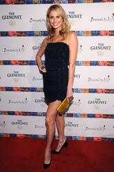 Stacy Keibler wore a midnight blue strapless crepe dress and Christian Louboutin pumps.